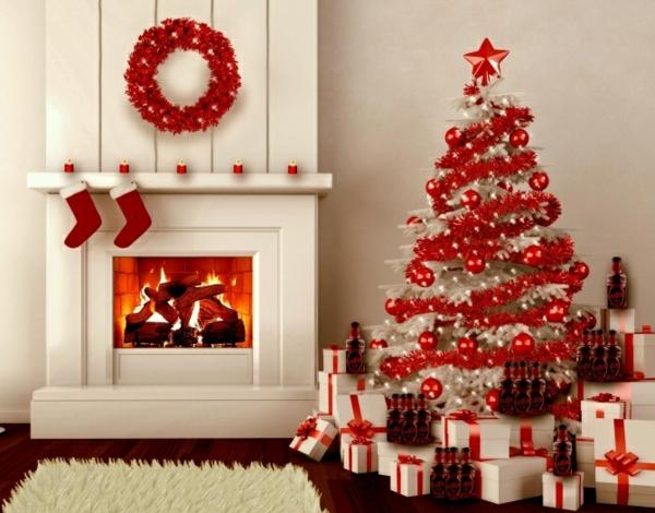 idée déco cheminée noël blanc et rouge