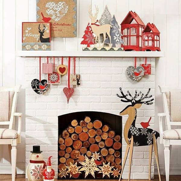 idée déco cheminée noël déco bois textile et carton