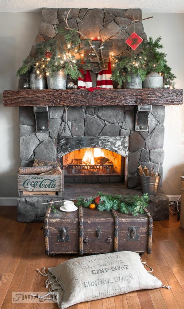 idée déco cheminée noël déco en bois brut