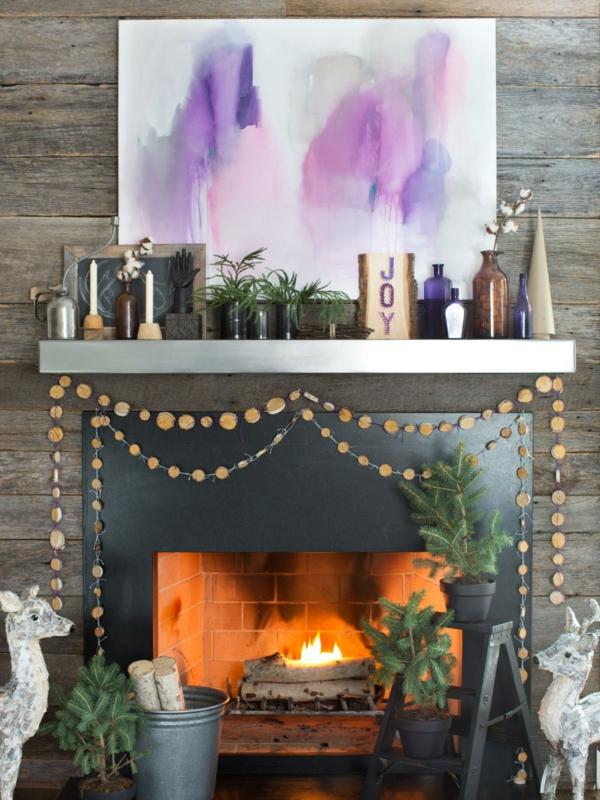 idée déco cheminée noël guirlande en rondins de bois diy