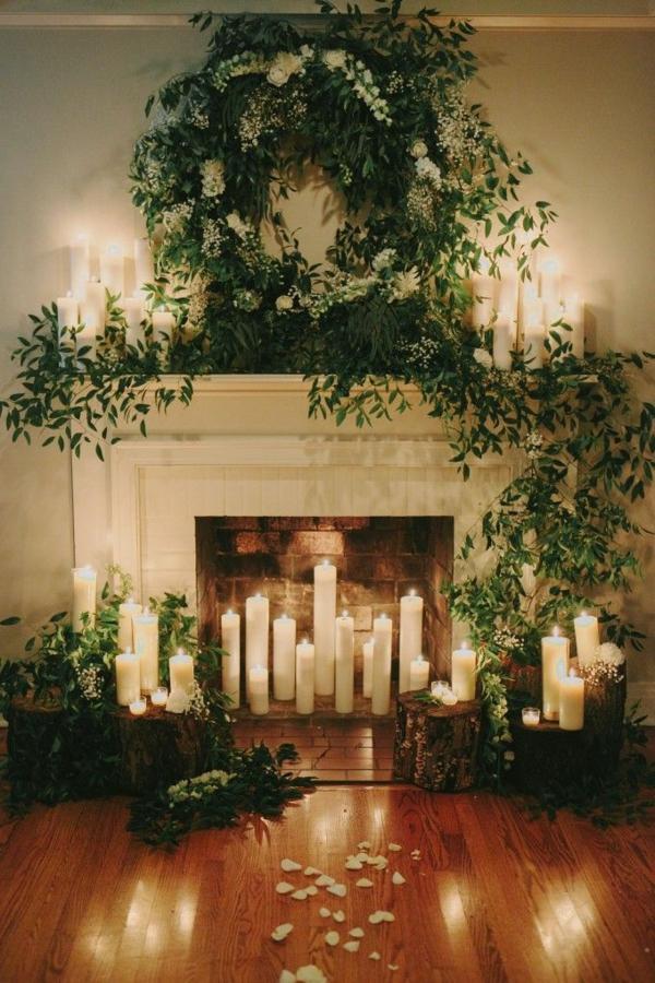 idée déco cheminée noël verdure et bougies