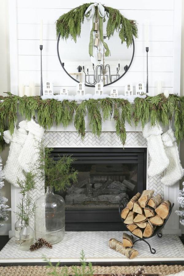 idée déco cheminée noël verdure