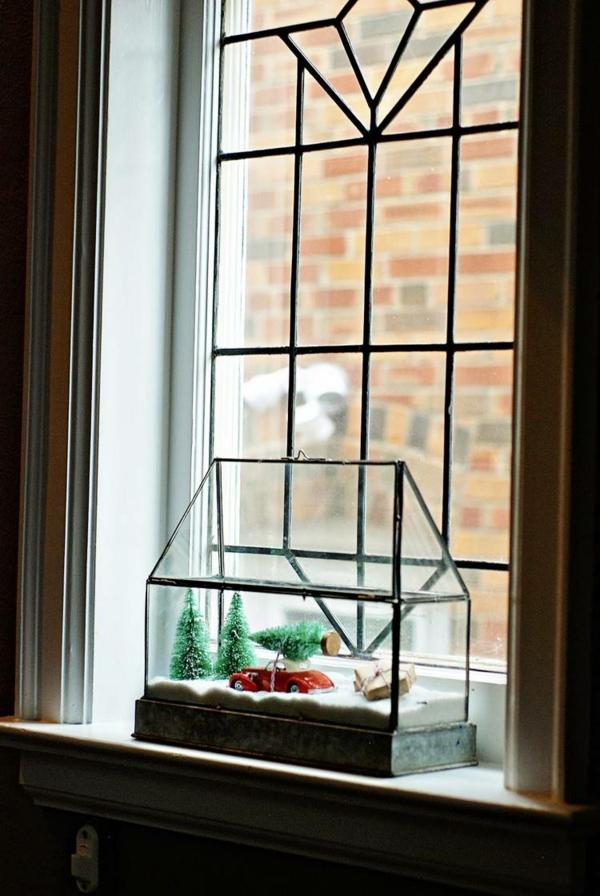 idée déco fenêtre noël boîte à neige