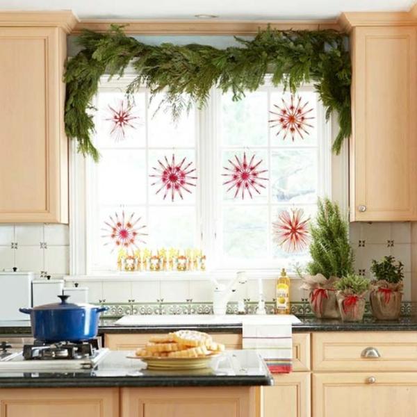 idée déco fenêtre noël cuisine stickers