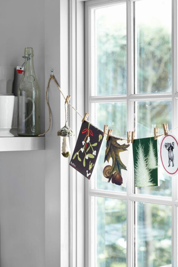 idée déco fenêtre noël diy guirlande cartes voeux
