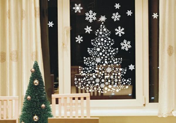 idée déco fenêtre noël flocons de neige stickers