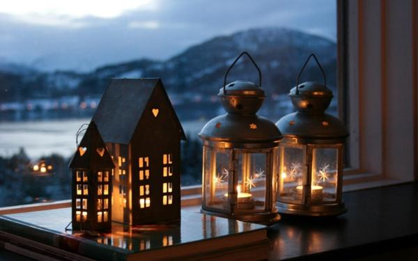 idée déco fenêtre noël lanternes