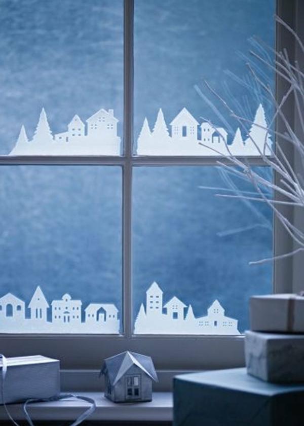 idée déco fenêtre noël peinture