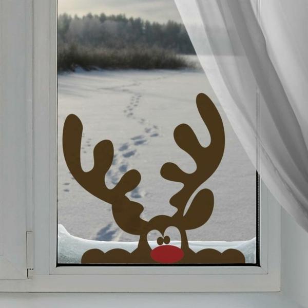 idée déco fenêtre noël renne sticker