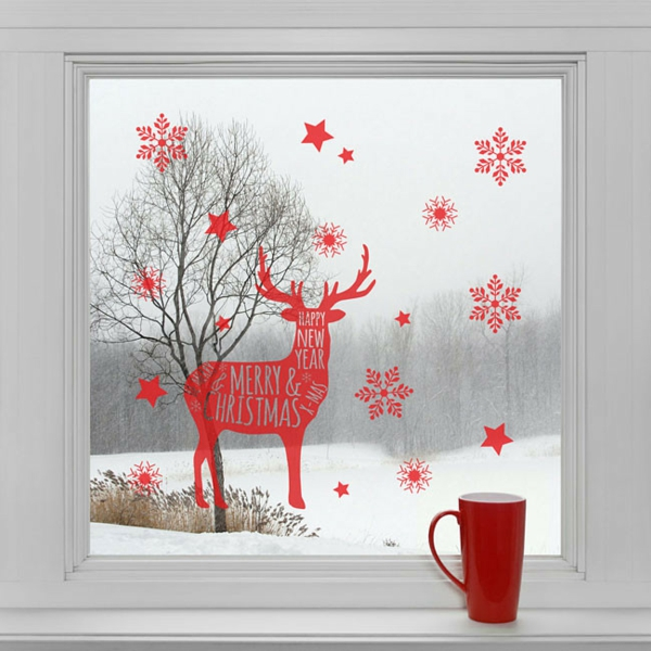 idée déco fenêtre noël sticker renne flocons de neige