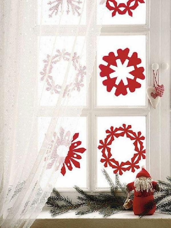 idée déco fenêtre noël stickers décoratifs