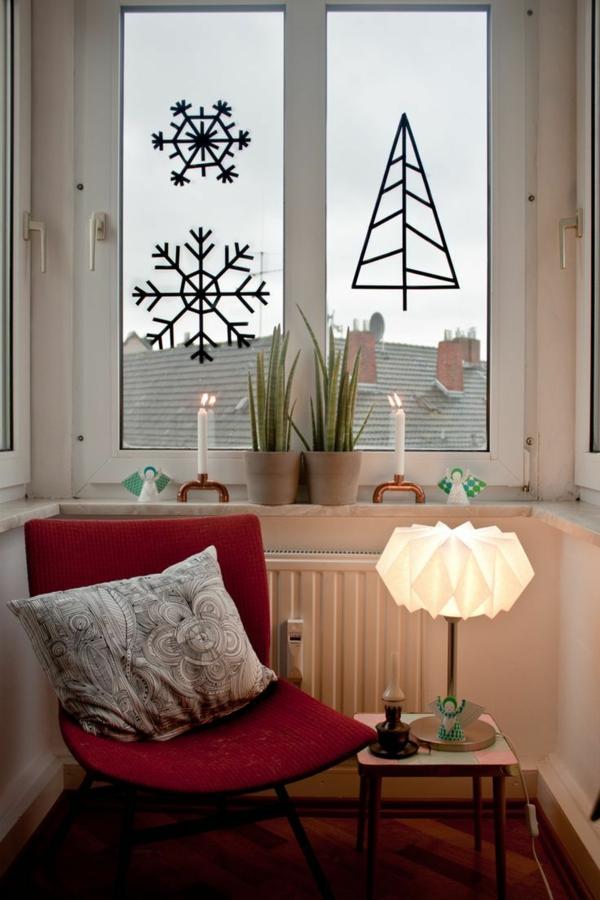 idée déco fenêtre noël stickers pour vitre