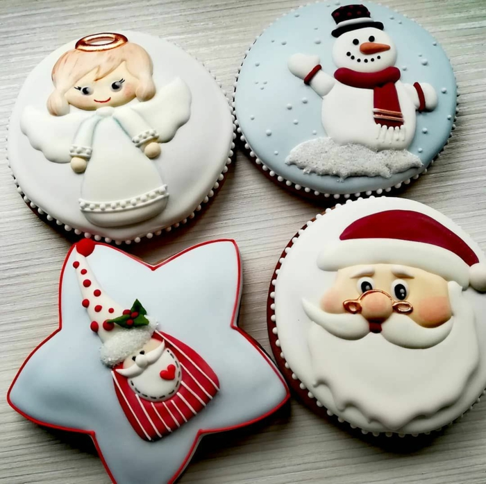 idée glaçage biscuit noël père noël bonhomme de neige ange