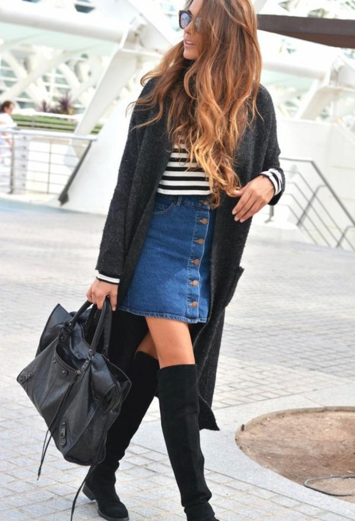 jupe en jean idée comment porter des cuissardes