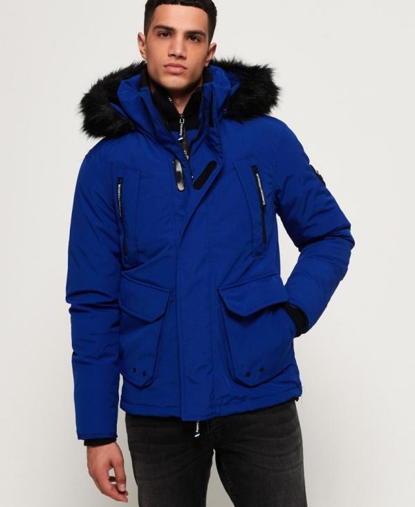 manteau d'hiver homme bleu corail