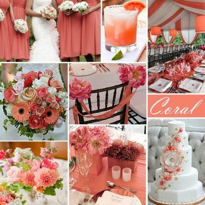 mariage idée en living coral couleur de l'année 2019 pantone