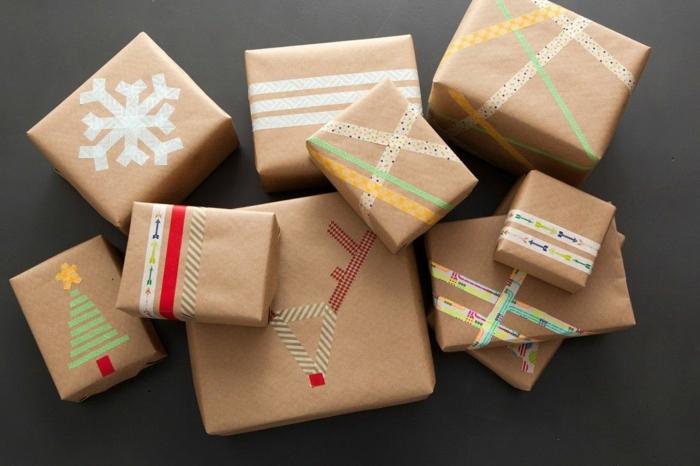 masking tape et papier cadeau kraft