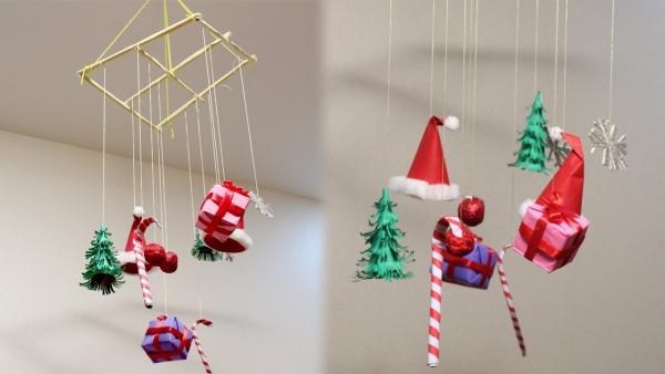 mobile de Noël à fabriquer support en bambou