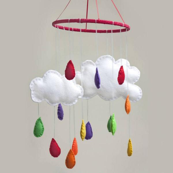 mobile de Noël à fabriquer un cerceau accroché au plafond