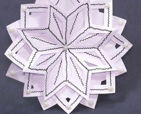 origami Noël flocon à trois couches