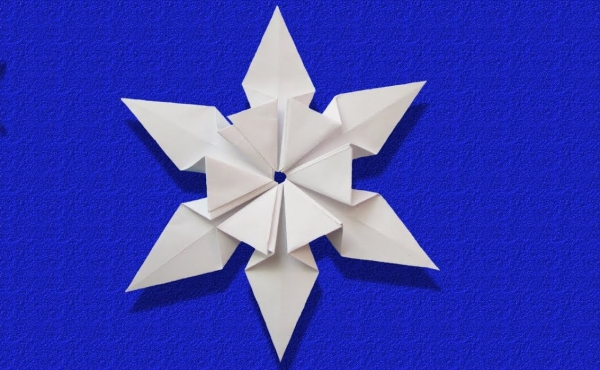 origami Noël flocon en forme d'hexagone