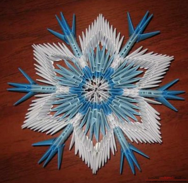 origami Noël flocon en modulation