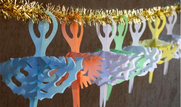 origami Noël flocon guirlande de danseuses