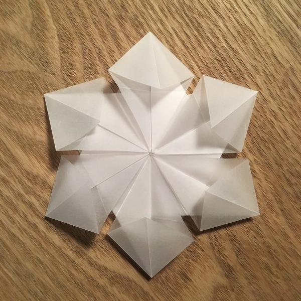 origami Noël flocon origami hexagonal