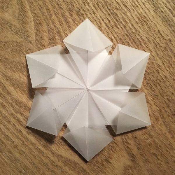 origami Noël flocon origami hexagonal