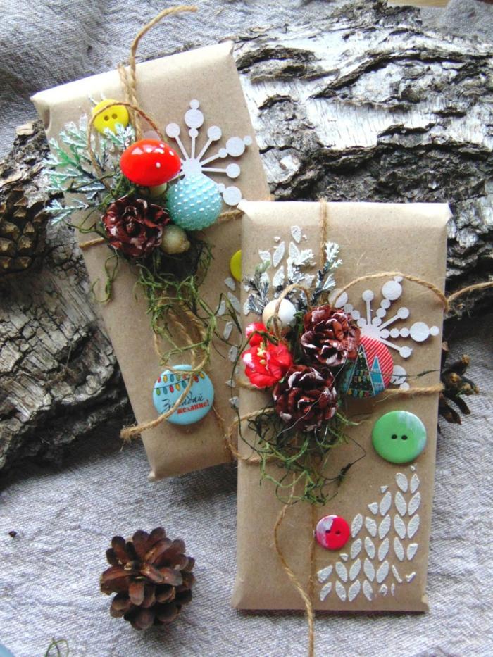 papier cadeau kraft comment décorer un cadeau de noël
