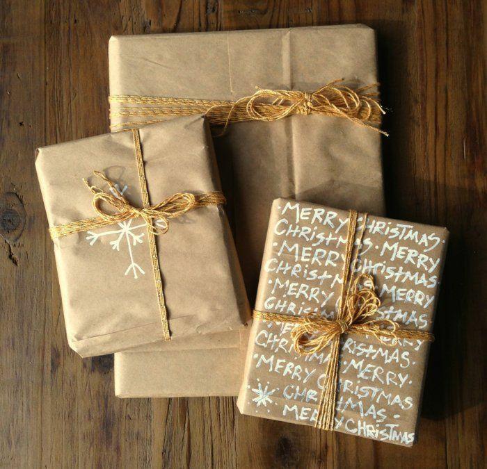 papier cadeau kraft déco avec marqueur blanc