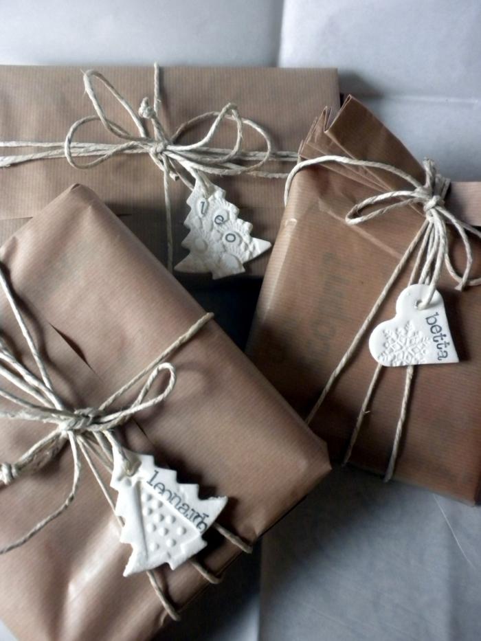 papier cadeau kraft déco avec pâte fimo