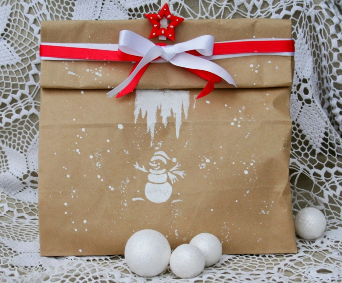 papier cadeau kraft déco bonhomme de neige