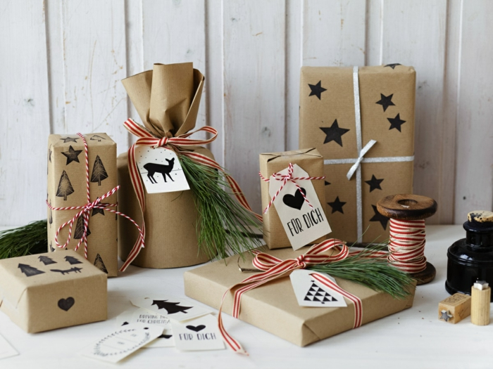 papier cadeau kraft déco cadeau de Noël