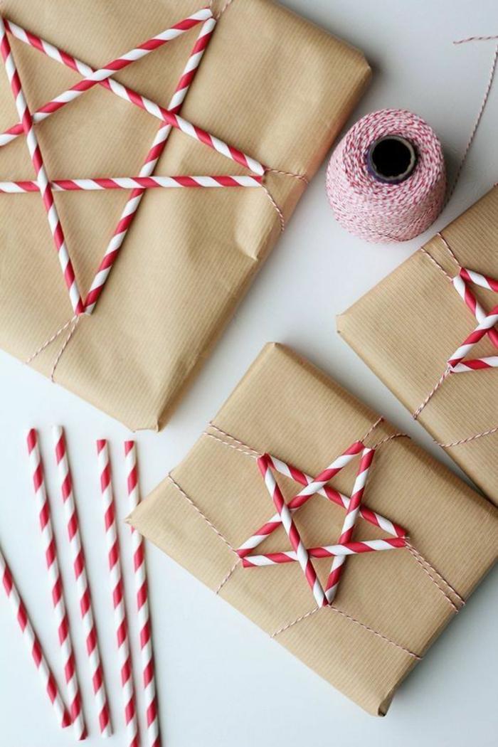 papier cadeau kraft déco en blanc et rouge