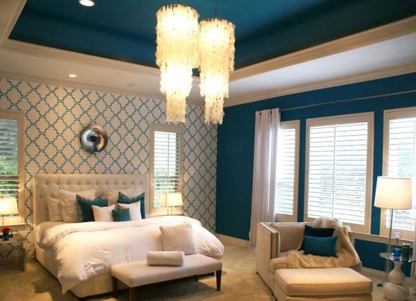 peinture bleu paon arrangement de chambre