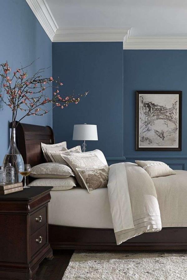 peinture bleu paon chambre à coucher