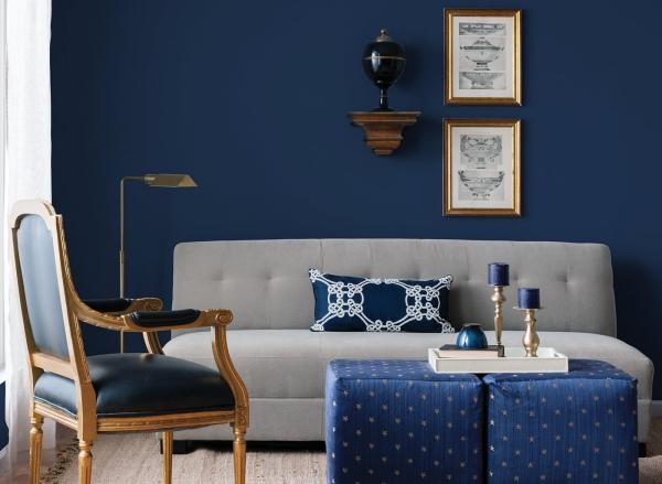 peinture bleu paon salle de séjour