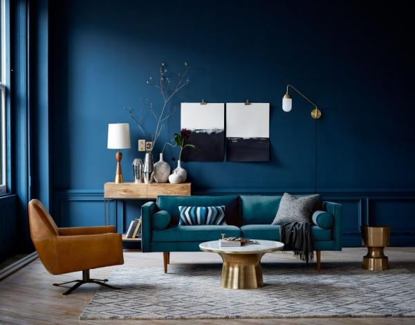 peinture bleu paon style vieux château