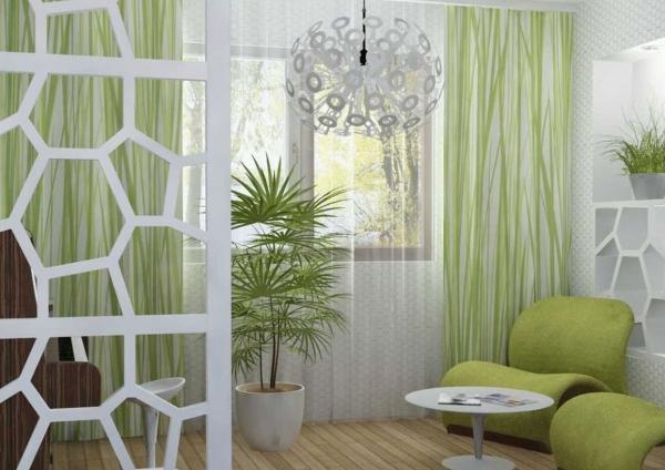 peinture pailletée fauteuils et rideaux en vert clair