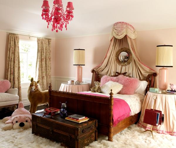 peinture rose poudré chambre d'enfants