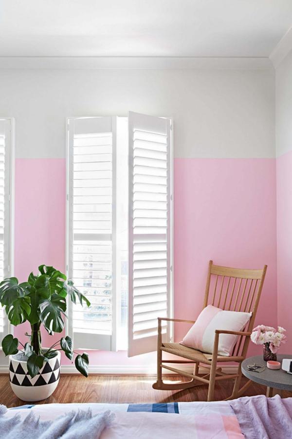peinture rose poudré deux niveaux de couleurs