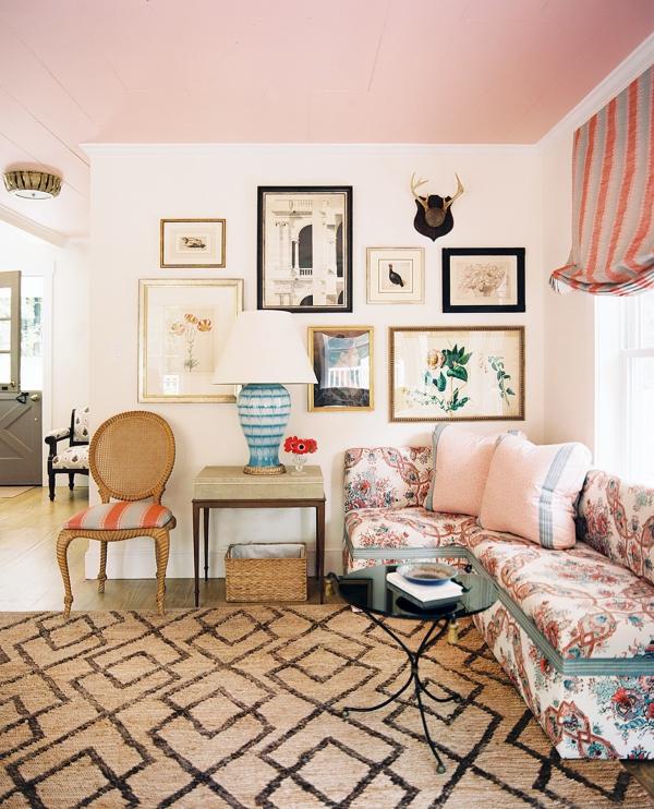 peinture rose poudré un coin-salon