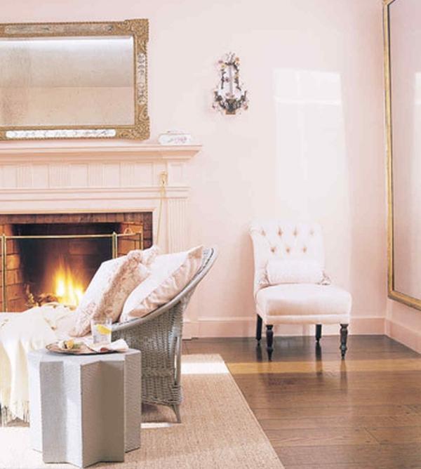 peinture rose poudré un salon vintage