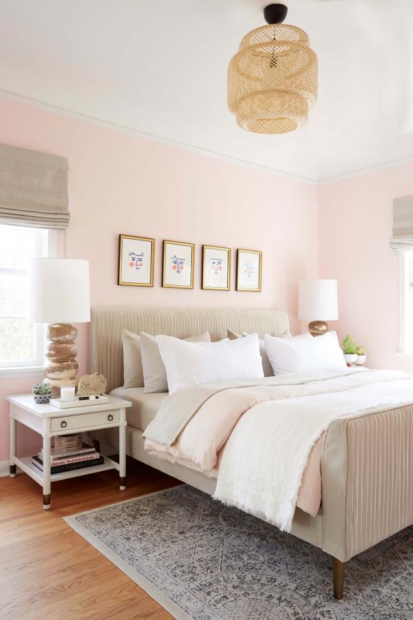 peinture rose poudré une chambre à coucher