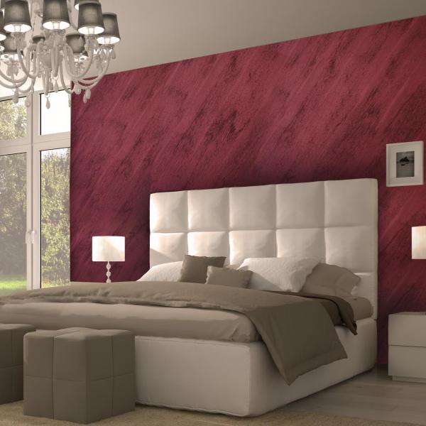 peinture sablée un lit en blanc et en gris