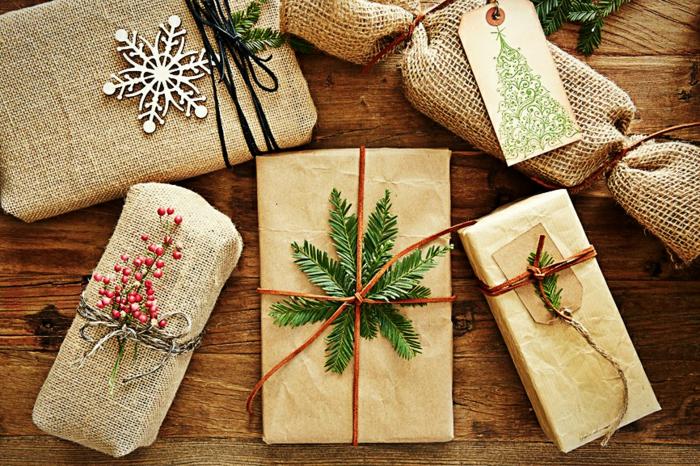 plante et papier cadeau kraft pour noël