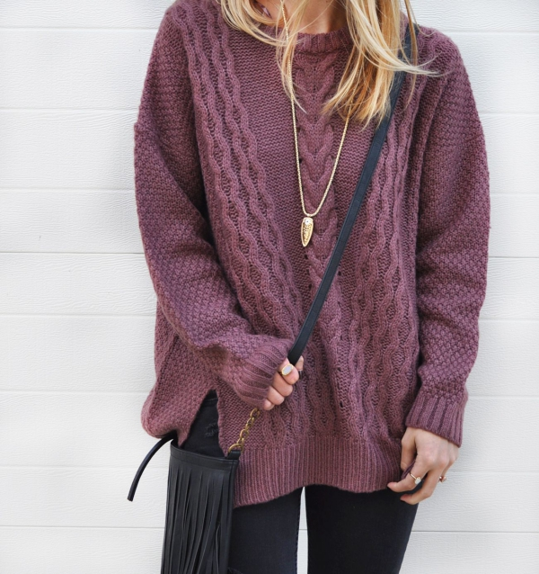 pull oversize couleur lilas