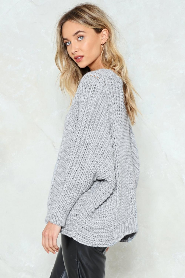 pull oversize pull gris