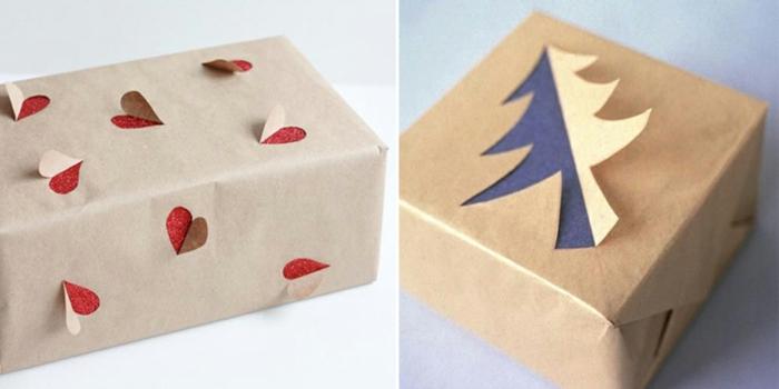 réalisation facile emballage en papier cadeau kraft
